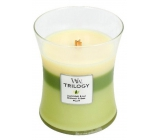 Woodwick Trilogy Garden Oasis - fragrance candle with wooden knot and glass cap medium 275 g