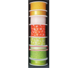 Nekupto Fabric ribbon green white stripes 3.5 mx 10 mm