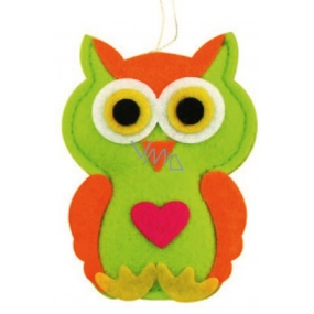 Felt owl with a heart 10 cm