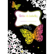 Ditipo Relax in handbag Butterflies and flowers creative notebook 16 sheets, size A6 15 x 10.5 cm