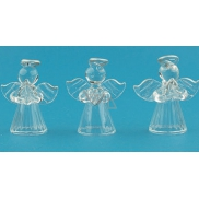Angels made of glass with silver halo set 5 cm 3 pieces