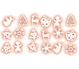 Felt decoration white mix of motifs 3 cm, 18 pieces