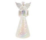 Glass angel on a white candle 19 cm