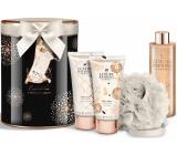 Grace Cole The Body Edit bath foam 250 ml + body lotion 150 ml + shower gel 150 ml + body sponge, cosmetic set in a tin can
