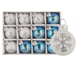Set of glass flasks white and blue with flake 3cm, 12pcs