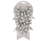 Jute gray bows with various motifs 13 cm, 2 pieces