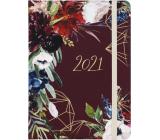 Albi Diary 2021 daily Burgundy flowers 17 x 12.6 x 2.4 cm