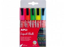 Apli Chalk marker round tip 5.5 mm 5 pieces, set