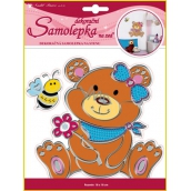 Teddy bear wall stickers with silver contour 24 x 18 cm