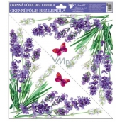 Room Decor Window film without glue Lavender flowers in the corner 30 x 30 cm
