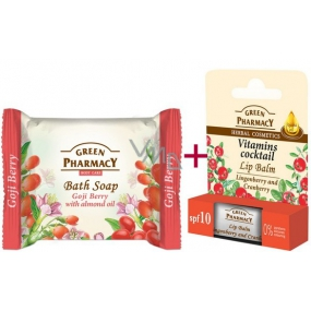 Green Pharmacy Vitamins Cocktail - Cranberry Vitamins and Jojoba Oil Lip Balm 2 x 3.6 g + Goji and Almond Oil toilet soap 100 g, triopack