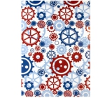 Ditipo packing papers.2 mx 70cm white blue + bordeaux toothed wheels