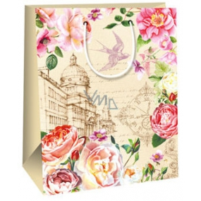 Gift bag AB big beige colored flowers