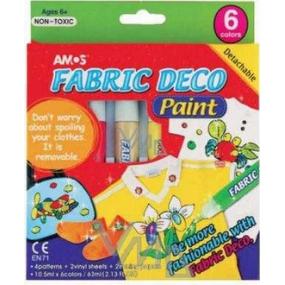 Amos Fabric Deco Paint for textiles, iron-on stencils, foil 6 pieces 10.5 ml