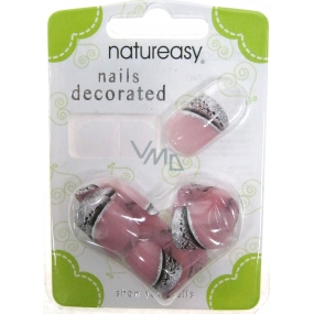 Diva & Nice Natureasy Nails Decorated sticky nails pink with black-silver application 24 pieces
