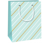 Ditipo Gift paper bag 11.4 x 6.4 x 14.6 cm light green, white-brown stripes