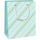 Ditipo Gift paper bag small light green, white-brown stripes 11.4 x 6.4 x 14.6 cm E