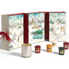 Yankee Candle Advent Calendar Book tealight 12 pieces + votive candle 12 pieces + candlestick, Christmas gift set