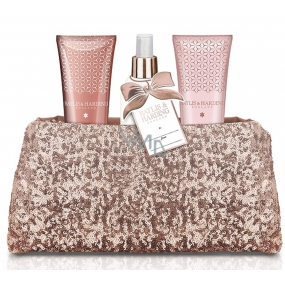 Baylis & Harding Jojoba, Silk and Almond Oil shower gel 100 ml + hand and body lotion 100 ml + body spray 100 ml + pink sequin handbag, cosmetic set