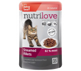 Nutrilove Stewed fillets with juicy beef in sauce complete food for cats pocket 85 g