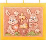 Candles Hares with a basket scented flat candle with 3 wicks 130 x 100 mm