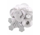 First Steps Sleepwalker with plush head Elephant + Rattle with plush head Pink teddy bear, plush set for children