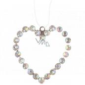 Metal hanging heart with stones 9 cm