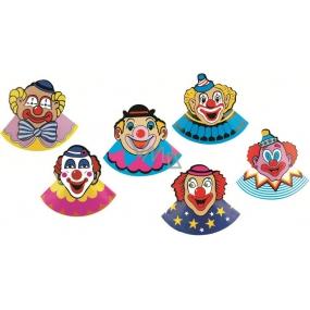 Karnevalový klobouček s klaunem 6 kusů v balení