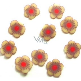Professional nail decorations flowers brown-red 132 1 pack
