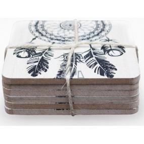 Nekupto Home Decor Wooden coasters set 10 x 10 cm 6 pieces