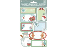 3D self-adhesive gift tags with glitter 21 x 14 cm 8 pieces