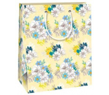 Ditipo Gift paper bag 18 x 10 x 22.7 cm yellow, white-blue QC flowers