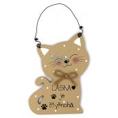 Nekupto Pets Wooden sign Love is four-legged - cat 12 x 8.5 cm