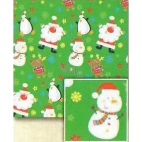 Nekupto Christmas wrapping paper for children Light green, Santa, snowman 0,7 x 5 m