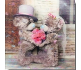 Me to You 3D Envelope Greeting Card, Teddy bears in love with a bouquet, 15.5 x 15.5 cm