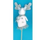 Reindeer figurine white recess 8 cm + skewers