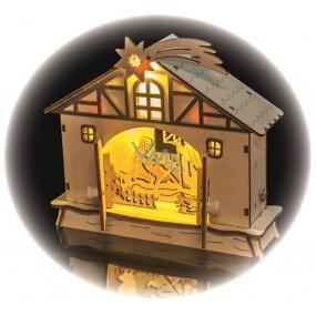 Emos Nativity scene decoration 18 x 17 cm, 4 LEDs, warm white + timer