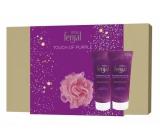 Fenjal Miss Touch of Purple shower gel for women 200 ml + body lotion 200 ml + washing sponge, cosmetic set