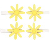 Yellow flowers with glitter on a peg 5 cm, 4 pieces in a bag