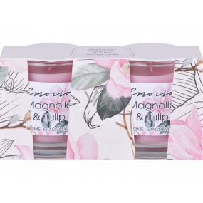 Emocio Magnolia & Tulip - Magnolia and tulip scented candle glass 50 x 63 mm 2 pieces in a box