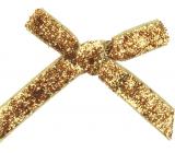 Velvet bow narrow gold glittering 8 cm 12 pieces