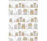 Ditipo Gift wrapping paper 70 x 200 cm Christmas white silver-gold houses