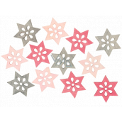 Star wooden pink-gray 4 cm 12 pieces