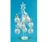 Glass sapling with ornaments 16 cm