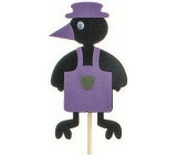 Crow in apron purple recess 7 cm + skewers 15 cm