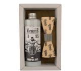 Bohemia Gifts & Cosmetics Biker Olive oil shower gel 250 ml + wooden butterfly cosmetic set