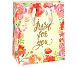 Ditipo Gift paper bag yellow, red poppies 18 x 10 x 22.7 cm QC Glitter
