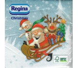 Regina Paper napkins 1 ply 33 x 33 cm 20 pieces Christmas Light blue, Santa on sleigh