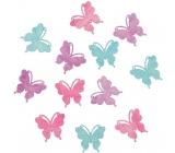 Dřevění motýli fialová, zelená, růžová 4 cm 12 kusů