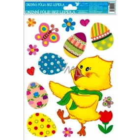 Room Decor Window foil without glue Easter chicken and tulip 30 x 20 cm